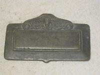 antique lid cover part ornate copper bronze? scroll flower face top piece repair