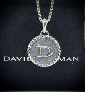 David Yurman Sterling Silver 925 Letter D Charm Pendant Enhancer 23mm