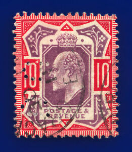 1910 SG256 10d Dull Purple & Scarlet  CSP M43(5) Gracechurch St GU Cat £75 dbvk