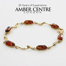 ITALIAN MADE  BALTIC AMBER BRACELET IN 9CT GOLD -GBR056 RRP£395!!!