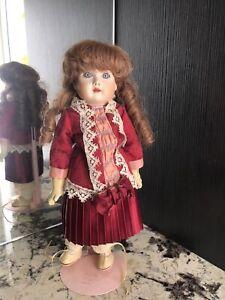 ReproDuction Antique & Vintage 1990 Girl Doll Bisque Porcelain, 36cm Tall