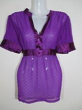 Sugarbabe Womens Size 12 Top, sheer bright fluro purple sheer casual satin N1