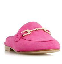 Dune Ladies Gene Metal Saddle Trim Backless Loafer Shoe in Pink Size UK 7 /40