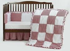 NEW!! Baby Doll Bedding Gingaham/Eyelet Patchwork Crib Bedding Set, Red, 4 Piece
