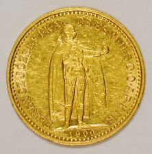 1900 Hungary 10 Korona Gold Coin for Franz Joseph I with Angels on Reverse