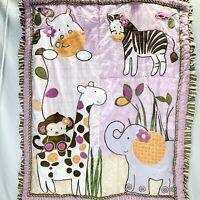 Cocalo Baby Blanket Safari Animals Quilt Zebra Monkey Giraffe Hippo 45x35
