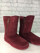 Lamo Water and Stain Resistant Suede Boots Women Size 9M QVC Burgundy Juniper