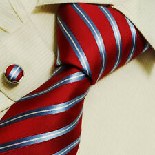 B1061 Red Stripes Fitted Presents Idea Silk Tie Cufflinks Set Y&G