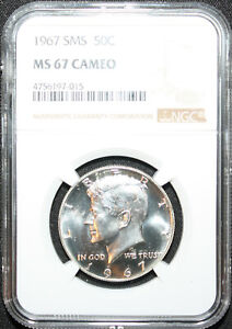 1967 Silver Kennedy NGC SMS 67 Cameo * Gorgeous  * Freshly Slabbed  LOOK