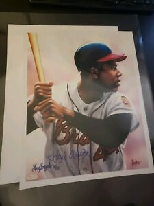 Hank Aaron autographed 11x14 color Gary Longordo art print HR KING Rare! STEINER