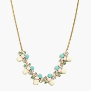 NWT J Crew Stone Cluster Statement Necklace Linen L9324 Green Pink Cream 9109