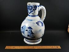 Large Antique Dutch Delft Blue White Pitcher with House and Figure 18th / 19th C