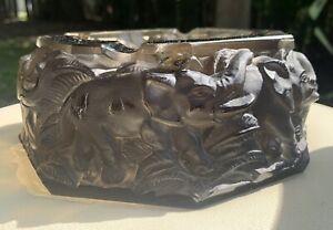 "ANTIQUE RARE ART DECO SMOKE FROSTED GLASS ELEPHANTS CIGAR ASHTRAY HEAVY 7"""