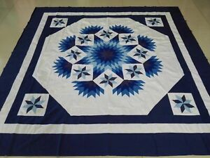 Queen size shade of blue patchwork quilt top#J-120