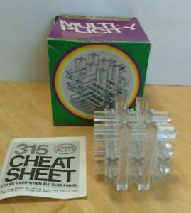 """Multiplicity 1974 USA Vintage Puzzle 3"""" Clear Plastic - Reiss Style #315-250"""