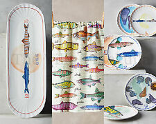 NEW Anthropologie Fish Festa Canape Plate, Platter, & Towel,~ A FULL 8 PIECE SET
