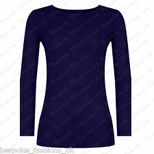 Ladies Women's Long Sleeve Sheer Mesh See Through Plain Top T-shirt Plus 8-20 Navy One Size 8-14