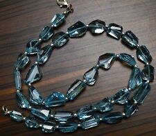 Super Fine Quality Natural Blue Topaz Faceted Fancy Cut Nuggets Necklace 20 Inch