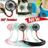 Portable USB Rechargeable Neckband Dual Cooling Mini Fan Lazy Neck Hanging New