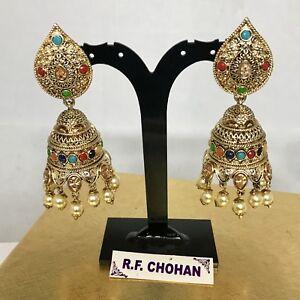 Gold Zirconia & Multi Colour Jhumka Earrings, Bollywood Bridal Pakistani Kundan
