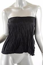 PRADA Black Cotton/Metal Blend Crinkled Bustier top w/Tie Detail - Sz 42/US6