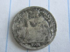 10 Cent Indo-China Silver Coin 1901 (See Photos) #B245