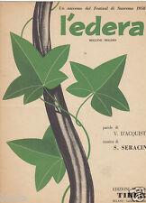 SPARTITO MUSICALE L'EDERA SANREMO 1958