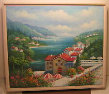 ART Gorgeous OIL PAINTING On Canvas HARBOR SCENE Seascape SIGNED D HOLMES!!!