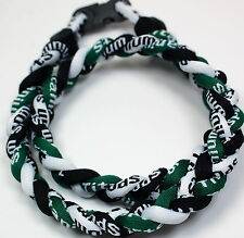 "NEW! BASEBALL Titanium TORNADO Sports Necklaces 20"" Green Black White 3 ROPE"