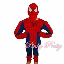Muscle Spiderman Hero Boy Fancy Halloween Party Costume Outfit Mask Age 4-5y 005