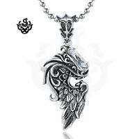 simulated diamond angel feather wing pendant silver stainless steel necklace