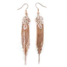 9cm Long Leaf Long Fringe Use Austria Crystal 18K Rose Gold-Plated Earrings
