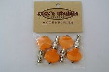 Lucy's Ukulele Vintage Style Color Friction Pegs Tuners Orange Buttons