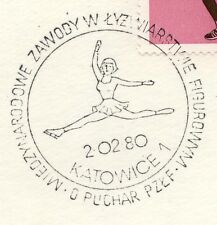 POLAND 1980 015 POSTMARK Figure skater on the ice.