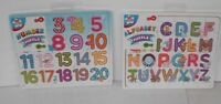 2 Wooden picture Puzzles; Letters Alphabet +123 Numbers Children's Kids Learning