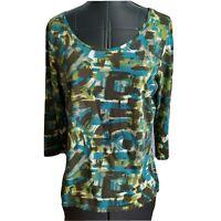 J Jill Scoop Neck T Shirt Top 3/4 Sleeve Size M Pima Cotton Brown Green Teal