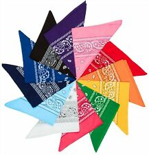 12 PACK OF PAISLEY BANDANAS HEAD WRAP SCARVES BANDANA MIXED COLOURS 100% COTTON