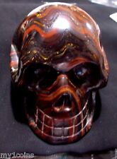 HUGE 4 INCH TIGER-IRON-EYE-CARVED CRYSTAL SKULL***vERY  REALISTIC