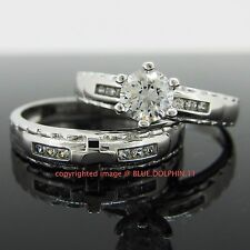 Real Solid 9k White Gold Engagement Wedding Christian Ring Set Simulated Diamond
