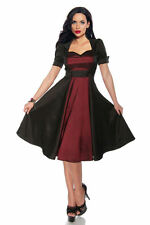 M 8 38 RETRO SWEETHEART PINUP BLACK BURGUNDY COUTURE COCKTAIL PARTY SWING DRESS