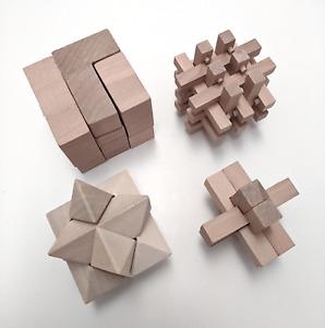 Holzpuzzles - Geduldsspiele - Knobelspiele - 3D - 4er Set