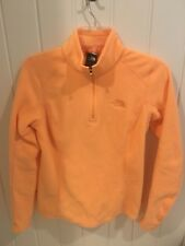 The North Face Womens Sherbet Orange Fleece Sweater 1/4 Zip Size XS Extra Small