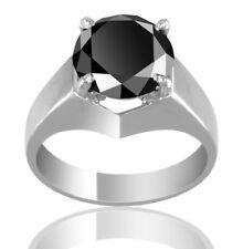 Black Diamond Solitaire Ring 3.15 Carat Certified Men's Jewelry Excellent Design