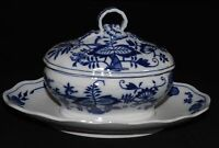 Brown Westhead Moore England Meissen Blue Onion Sauce Tureen Attached Underplate