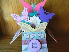 Handmade Pop Up box Card With Love, Flowers Butterflies 3-D   Any Occasion