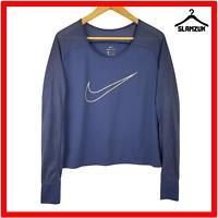 Nike Womens Dri Fit Running Shirt Top L Large Purple Strech Long Sleeve Gym Run