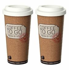 Life Story Corky Cup Reusable 16 oz Insulated Travel Mug Coffee Thermos (2 Pack)