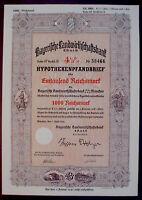 Bayerische Landwirtschaftsbank 4 1/2% 1000 Reichsmark München 1923 unentwertet