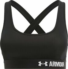 Under armour ladies crossback mid-impact bra S small black heatgear bnwt