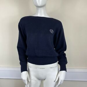 Ted Lapidus Ladies Navy Blue Thick Knitted Long Sleeved Jumper Top UK Size 8-10